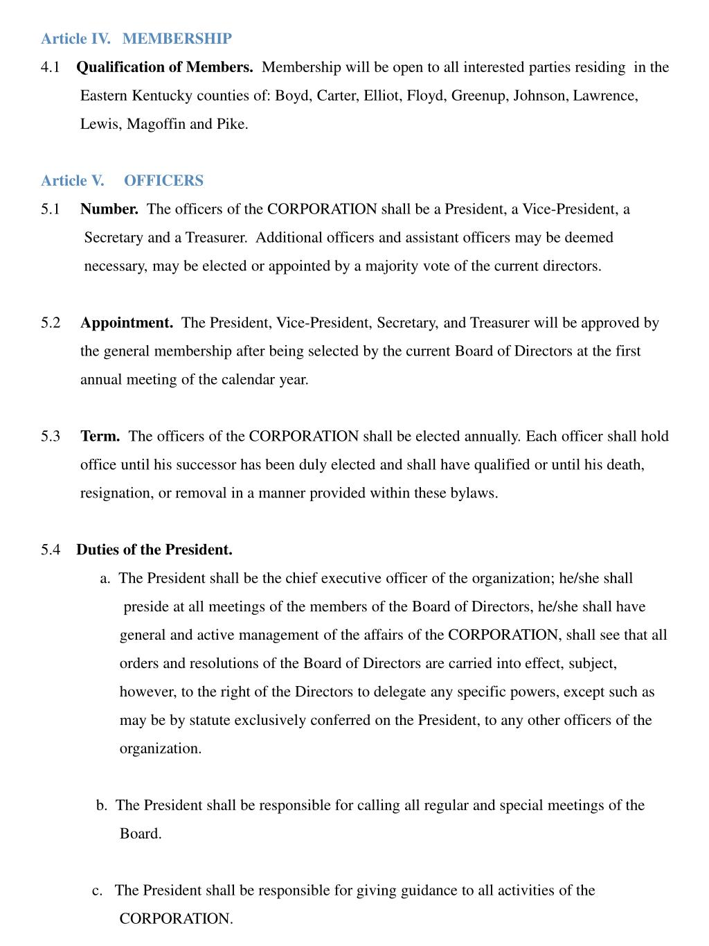 Article IV.   MEMBERSHIP