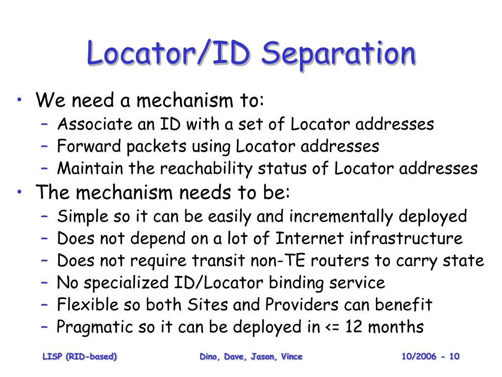 Locator/ID Separation