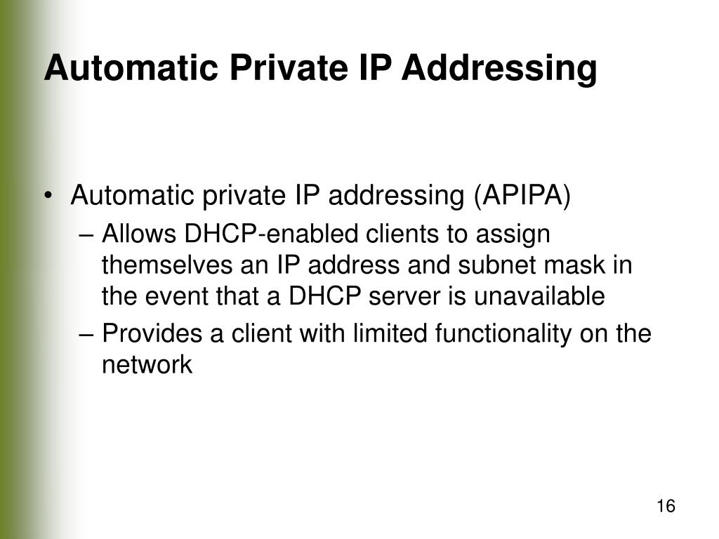 Automatic Private IP Addressing