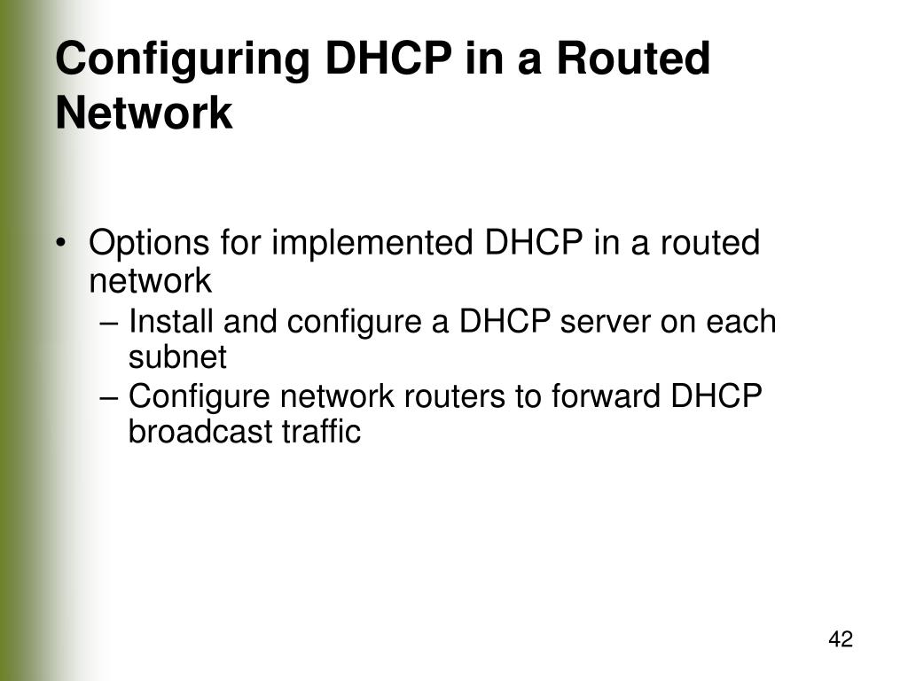 Configuring DHCP in a Routed Network