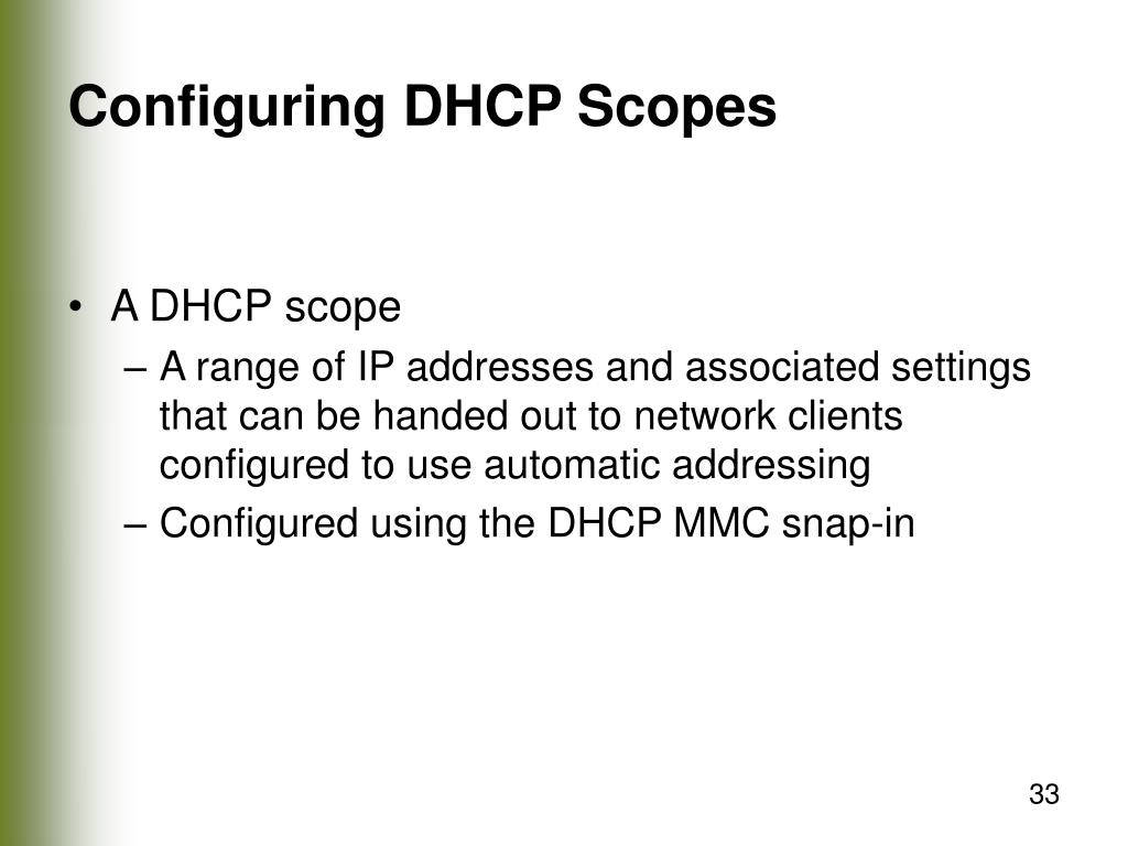 Configuring DHCP Scopes