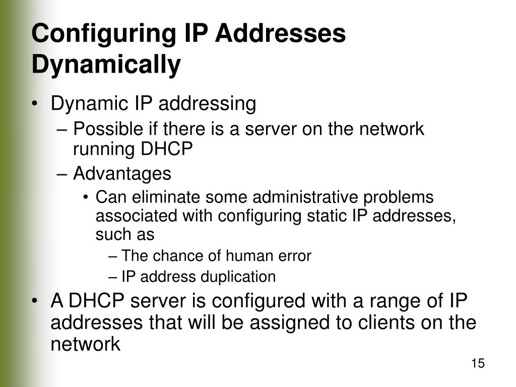 Configuring IP Addresses Dynamically