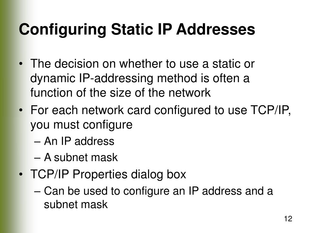 Configuring Static IP Addresses