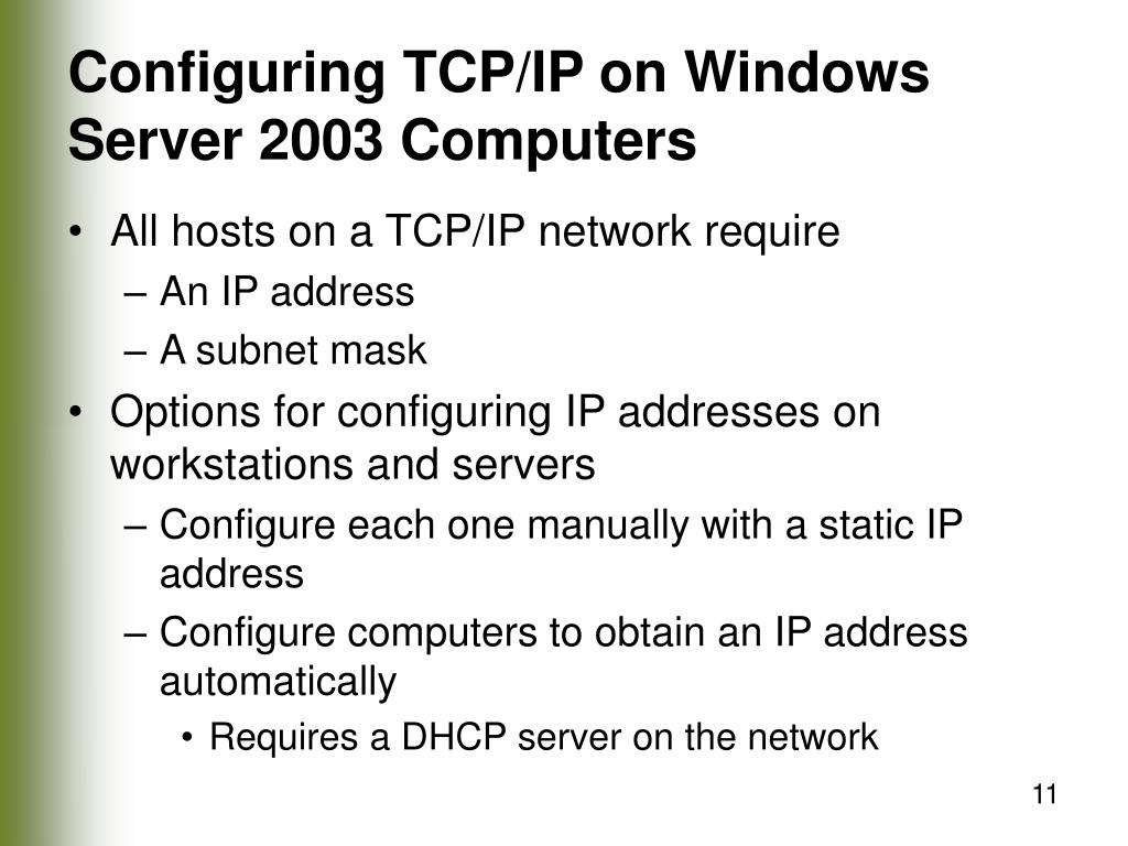 Configuring TCP/IP on Windows Server 2003 Computers
