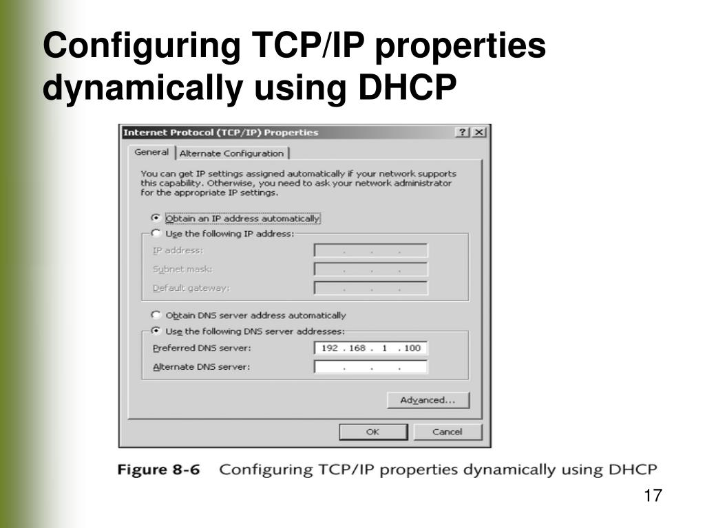Configuring TCP/IP properties dynamically using DHCP