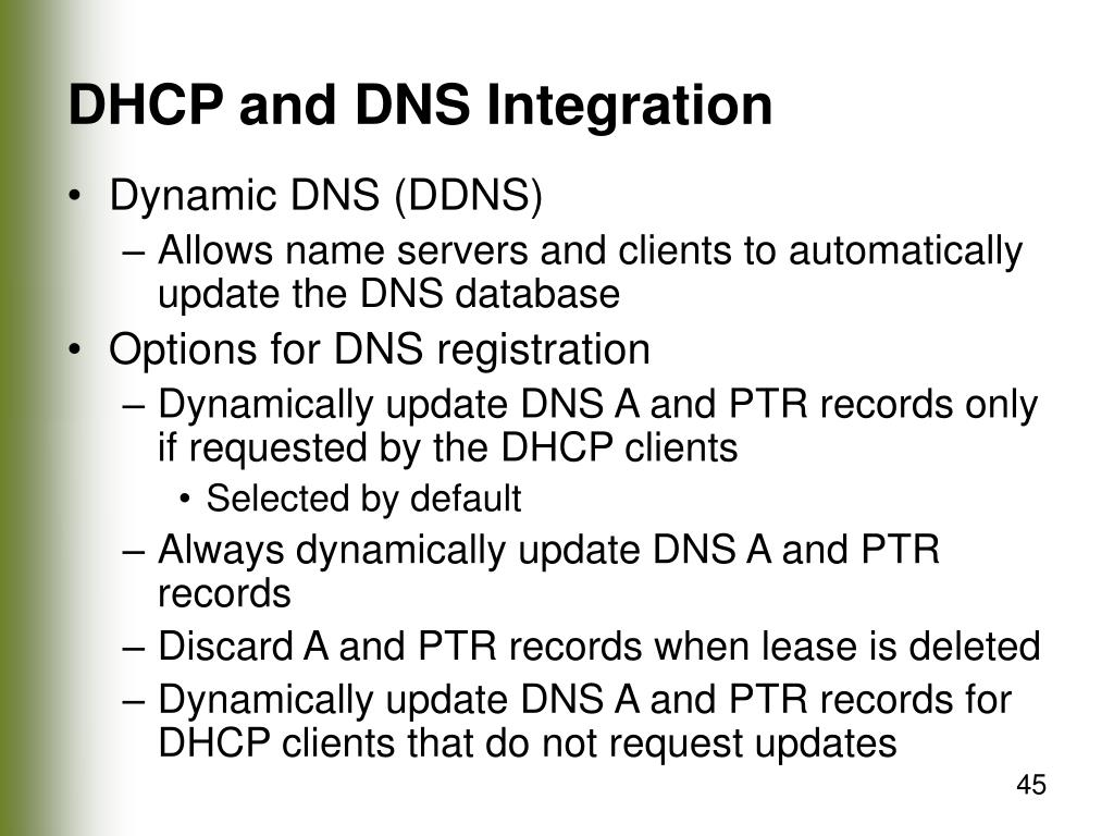DHCP and DNS Integration