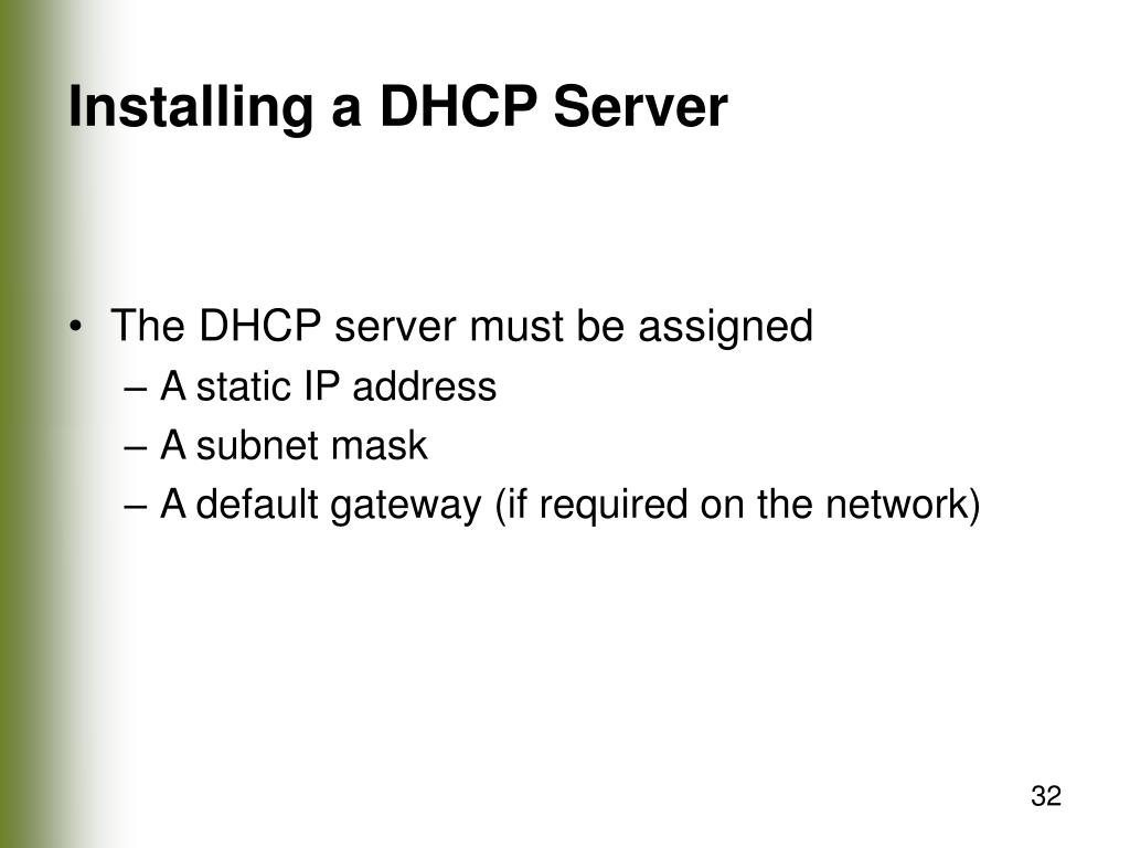 Installing a DHCP Server