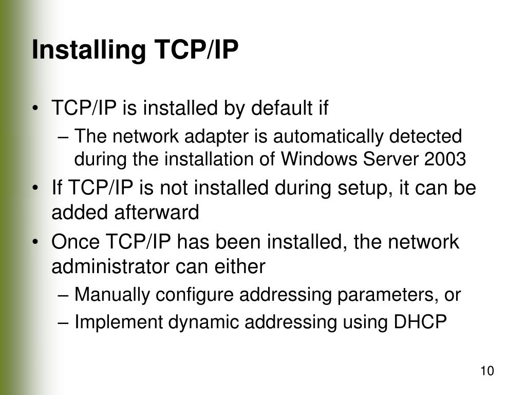 Installing TCP/IP