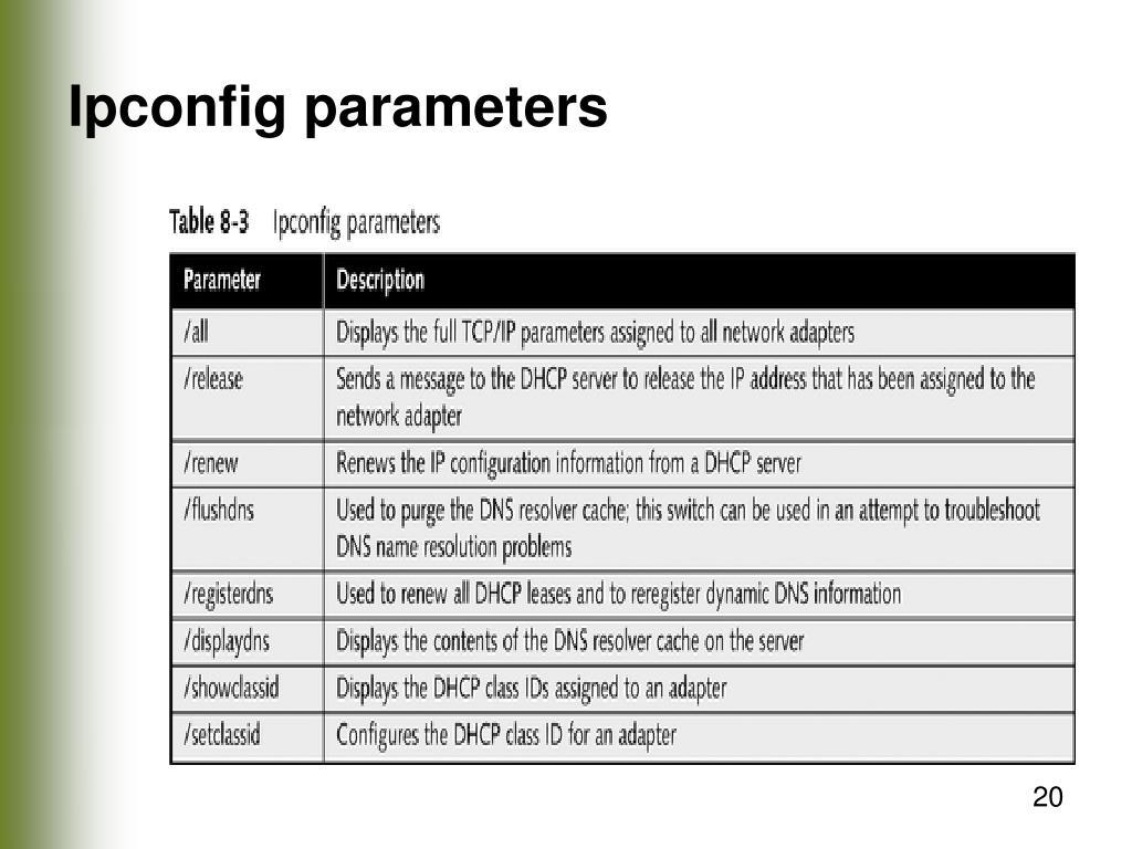 Ipconfig parameters