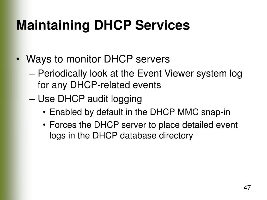 Maintaining DHCP Services