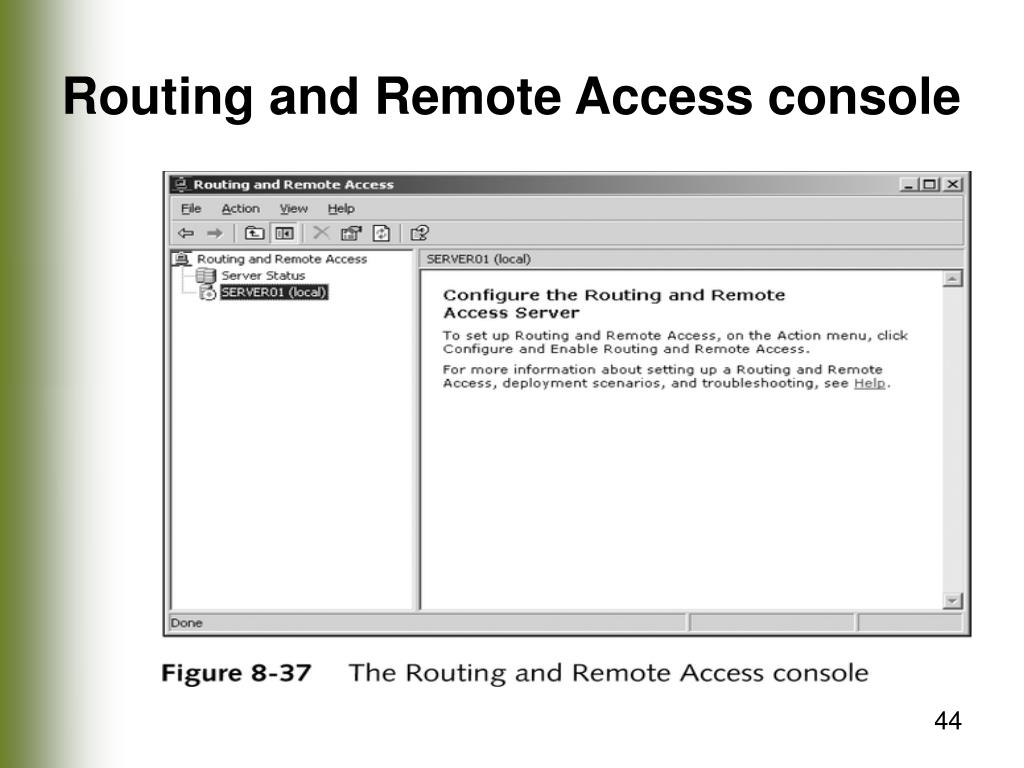 Routing and Remote Access console
