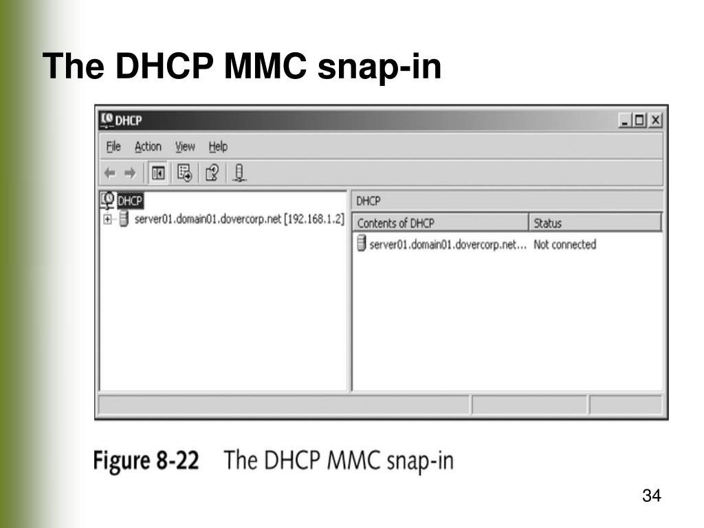 The DHCP MMC snap-in
