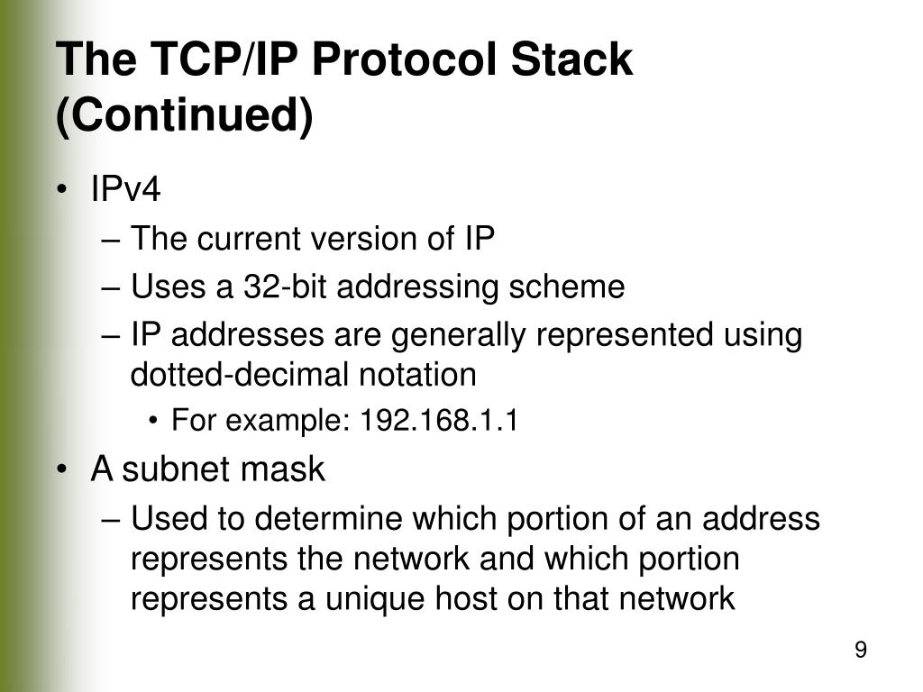 The TCP/IP Protocol Stack (Continued)
