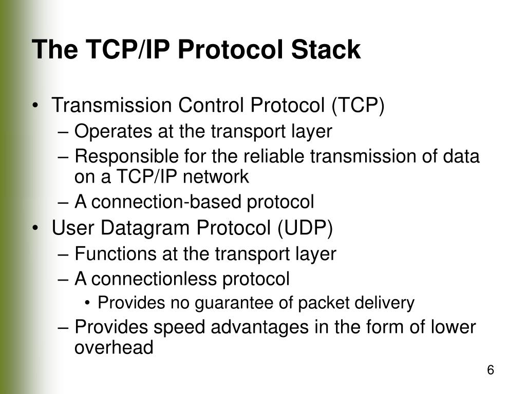 The TCP/IP Protocol Stack