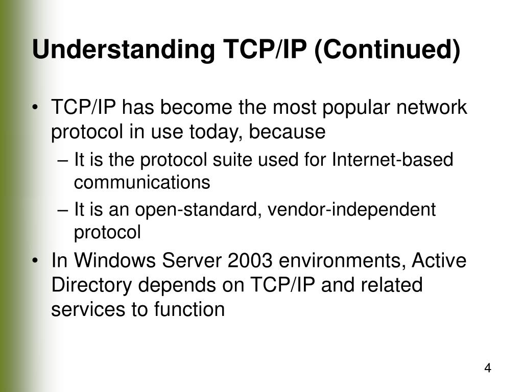 Understanding TCP/IP (Continued)