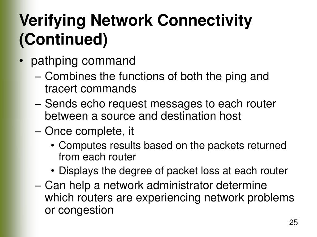 Verifying Network Connectivity (Continued)