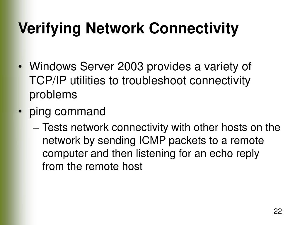 Verifying Network Connectivity
