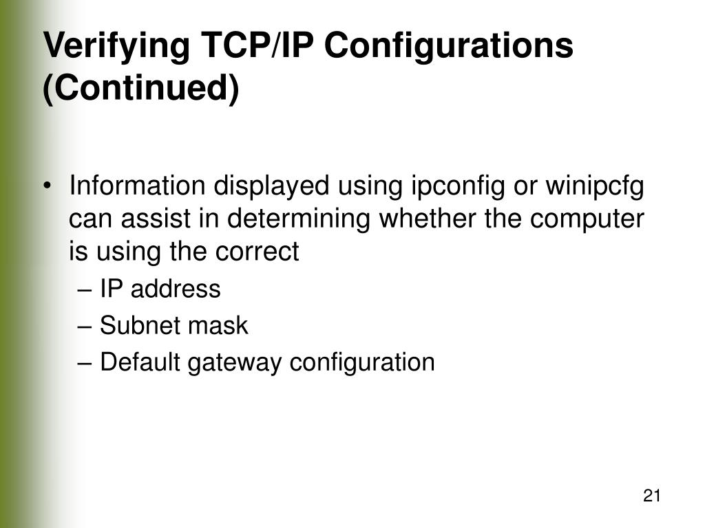 Verifying TCP/IP Configurations (Continued)