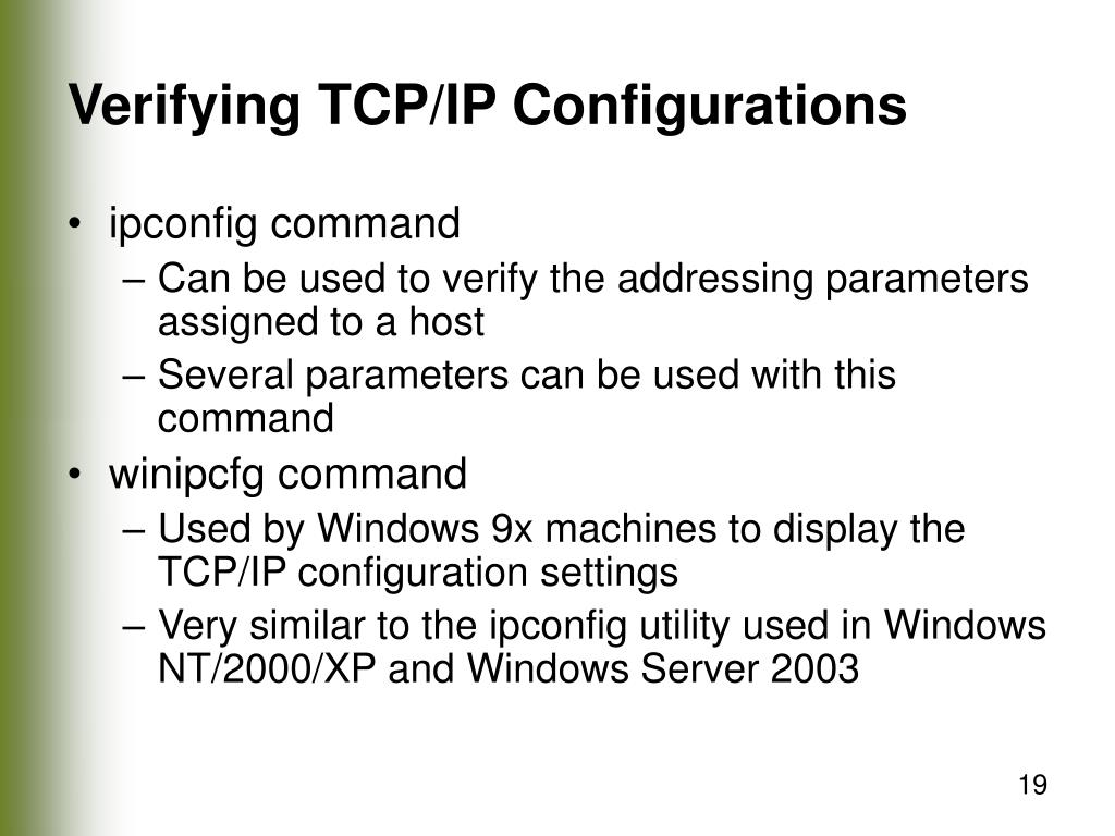 Verifying TCP/IP Configurations