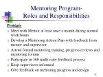 mentoring program roles and responsibilities