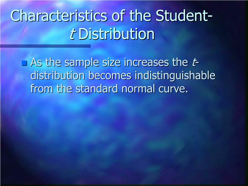 Characteristics of the Student-