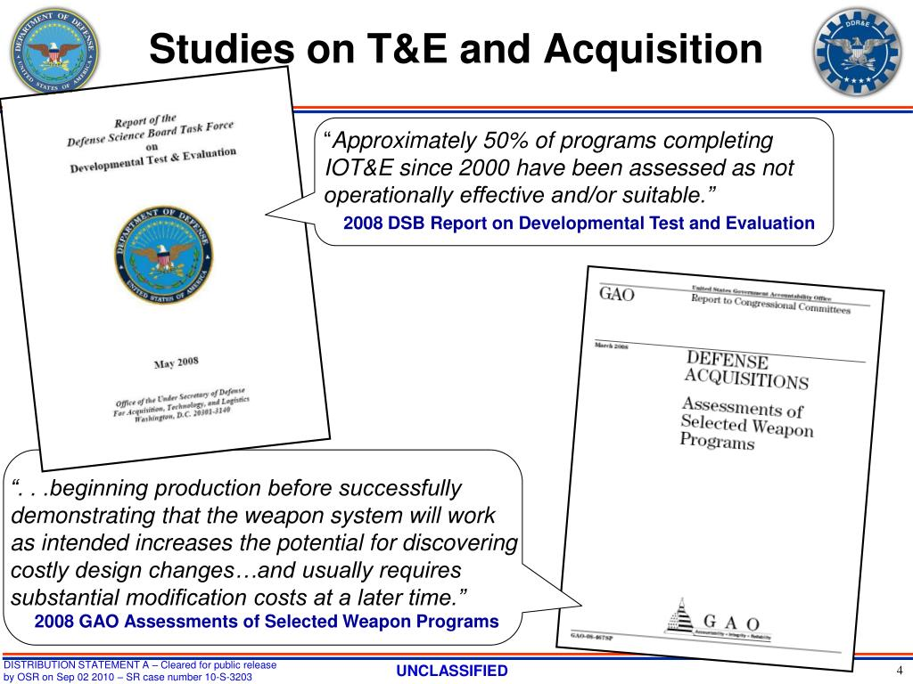 Studies on T&E and Acquisition