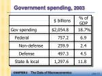 government spending 2003
