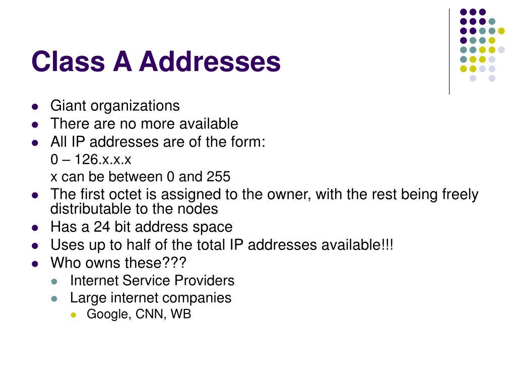 Class A Addresses