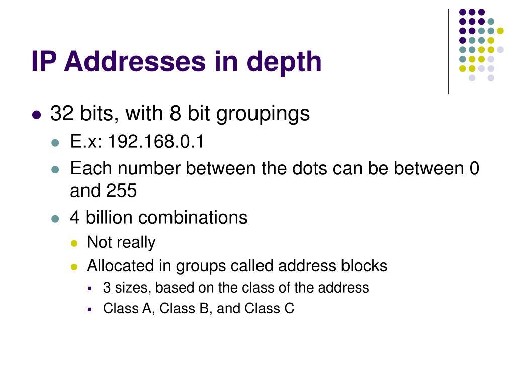IP Addresses in depth