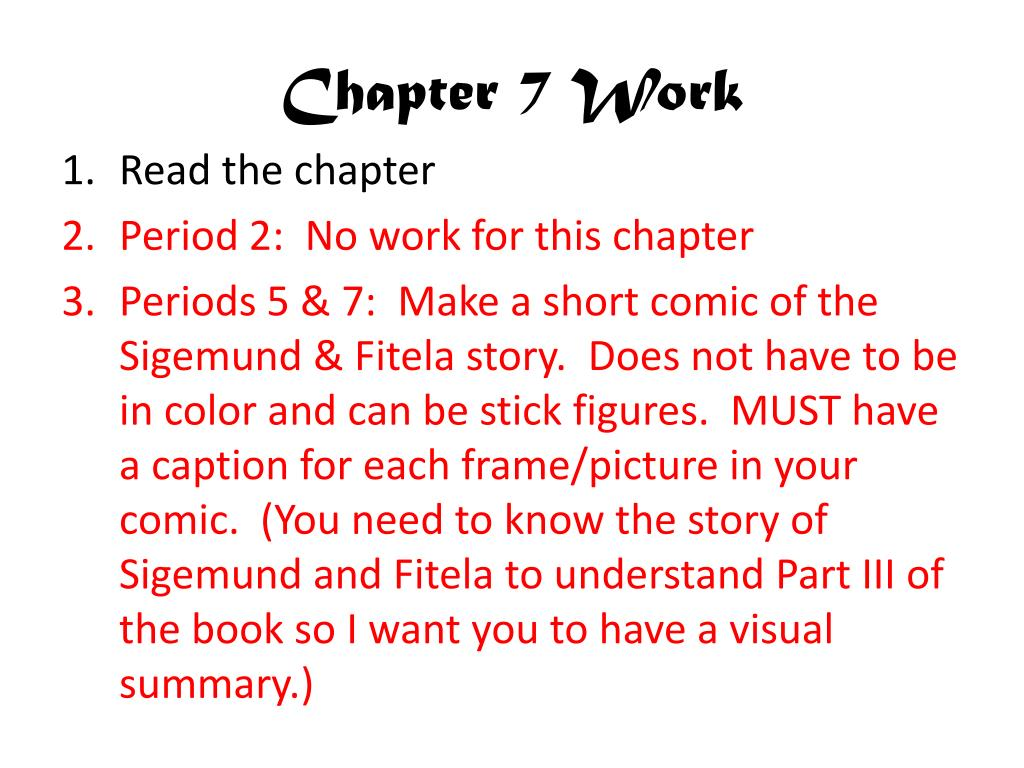 Chapter 7 Work