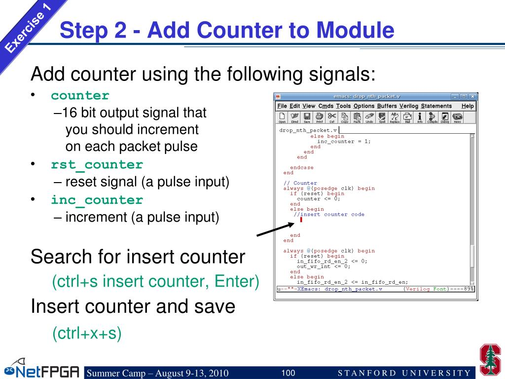 Step 2 - Add Counter to Module