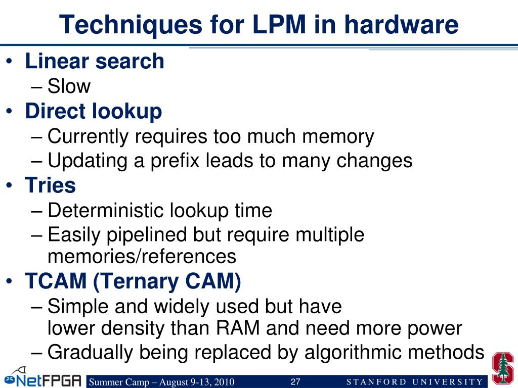 Techniques for LPM in hardware