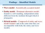 findings identified models