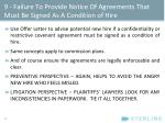 9 failure to provide notice of agreements that must be signed as a condition of hire