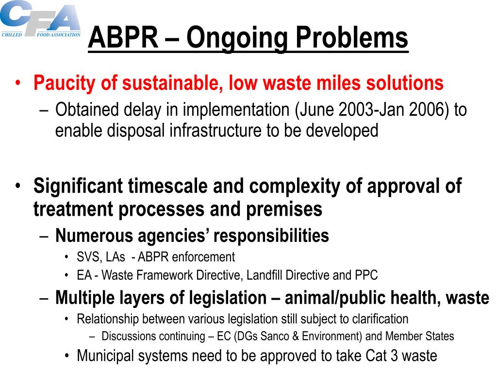 ABPR – Ongoing Problems