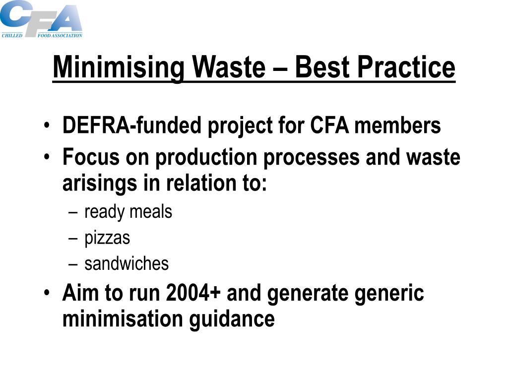 Minimising Waste – Best Practice