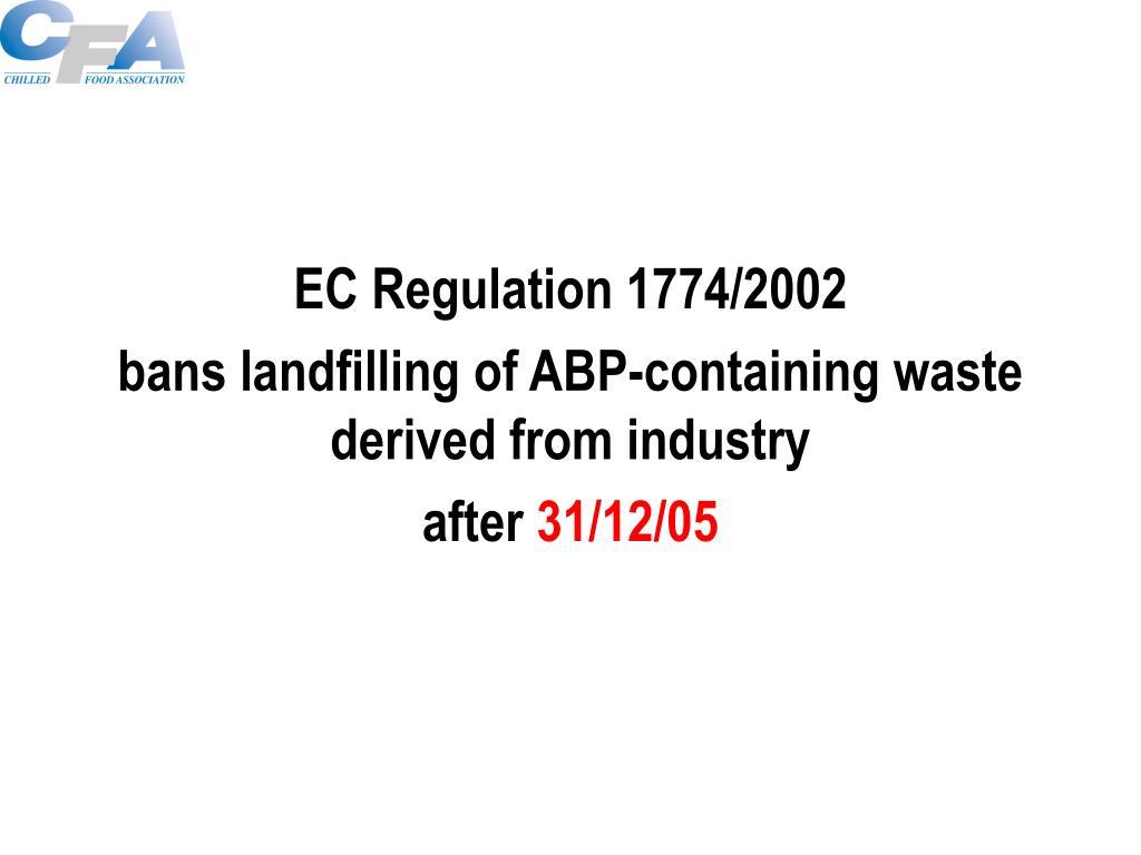 EC Regulation 1774/2002