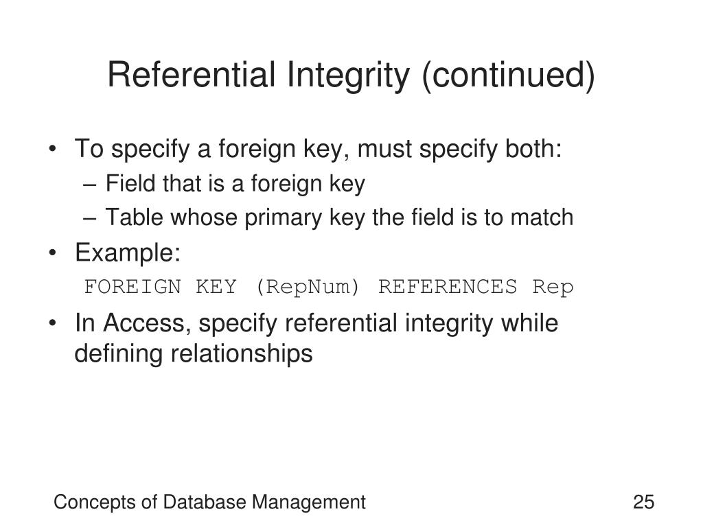 Referential Integrity (continued)