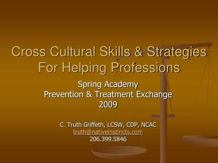 cross cultural skills strategies for helping professions