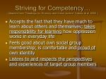 striving for competency adapted from readings for diversity and social justice adams et al 2000