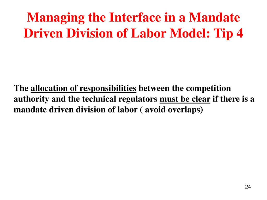 Managing the Interface in a Mandate Driven Division of Labor Model: Tip 4