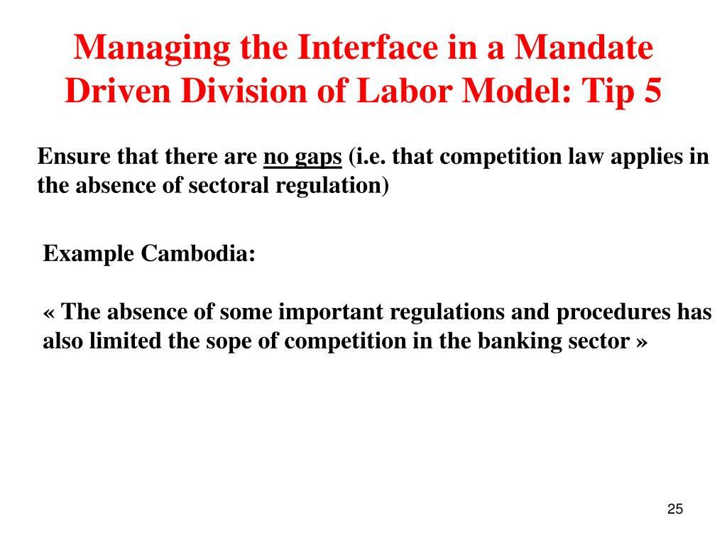 Managing the Interface in a Mandate Driven Division of Labor Model: Tip 5