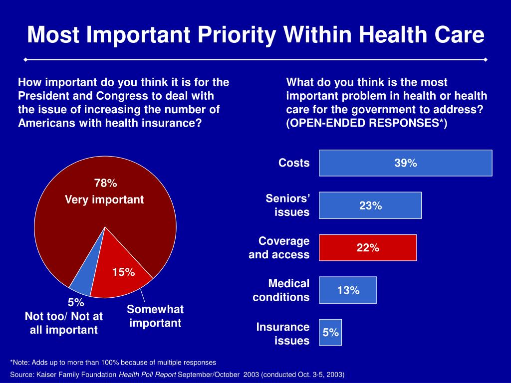 Most Important Priority Within Health Care