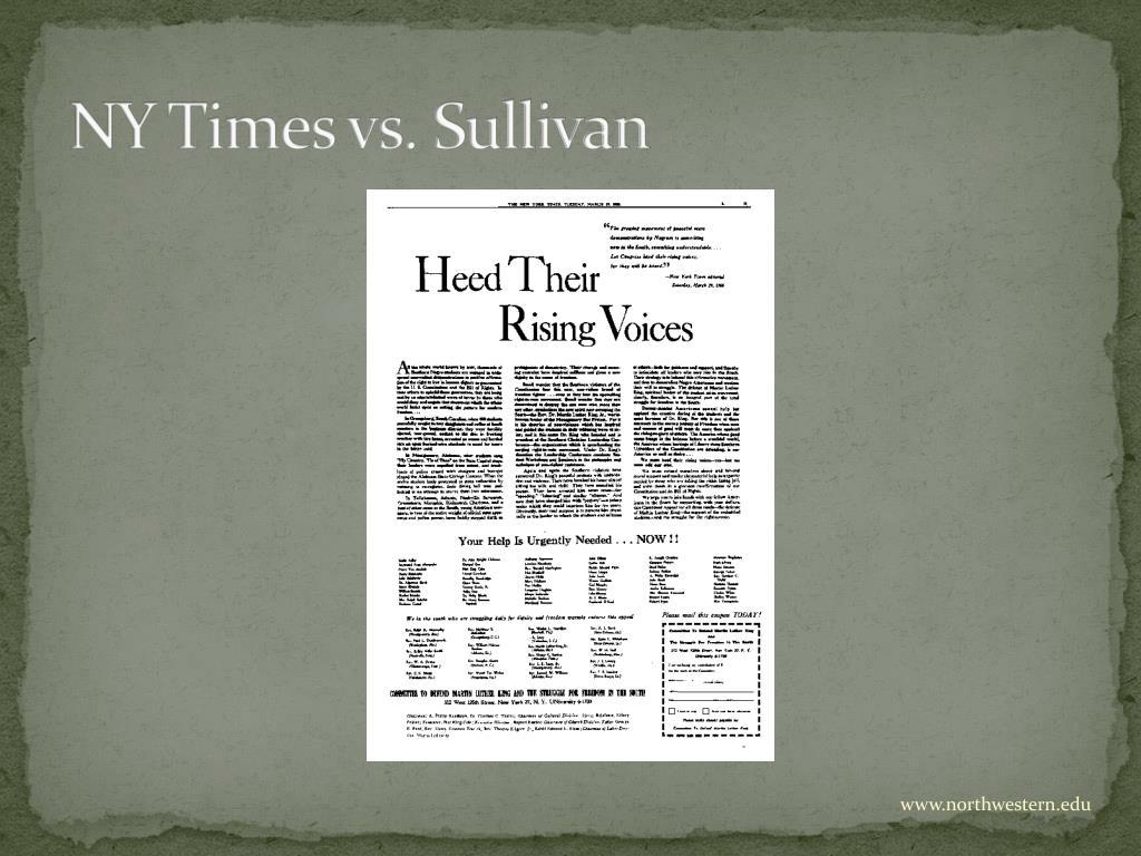 NY Times vs. Sullivan