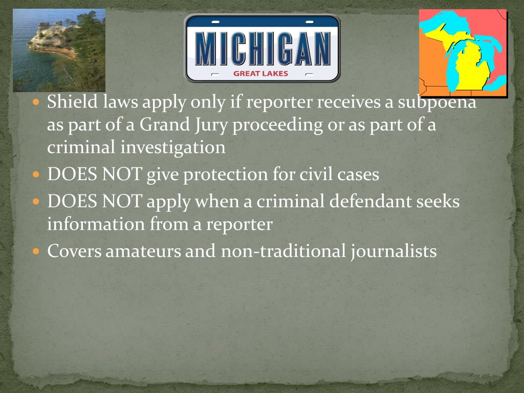 Shield laws apply only if reporter receives a subpoena as part of a Grand Jury proceeding or as part of a criminal investigation