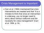 crisis management is important
