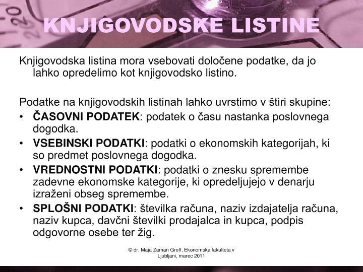 KNJIGOVODSKE LISTINE