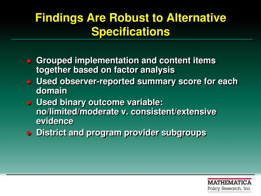 Findings Are Robust to Alternative Specifications