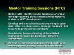 mentor training sessions ntc