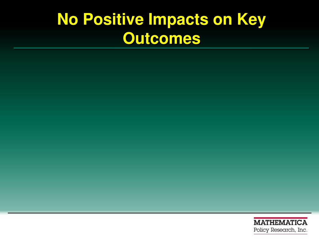 No Positive Impacts on Key Outcomes